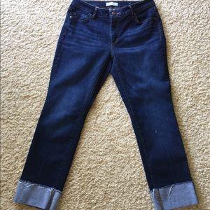 Loft Cuffed Dark wash Jeans size 8